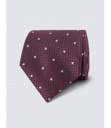 Мужской галстук розовый в белую точку текстурированный 100% шёлк