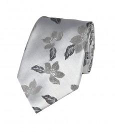 Мужской галстук темно-серый цвет, цветочный принт-100% шелк