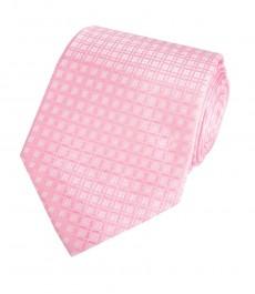 Мужской галстук, светло-розовый, узор ветряная мельница - 100% шелк