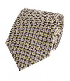 Мужской желтый галстук, геометрия - 100% шелк