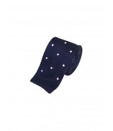 Мужской тёмно-синий вязаный галстук, шёлковый, в светло-розовую точку
