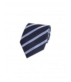 Мужской тёмно-синий галстук со светло-голубой колледжевской полоской - 100% Шёлк