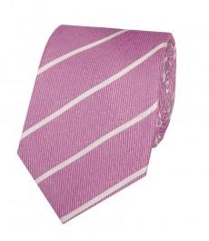 Мужской галстук розовый с широкой полоской - 100% шёлк