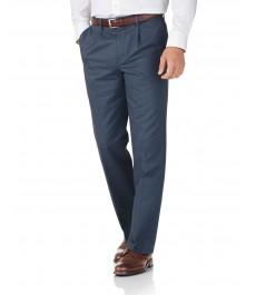Рифлёные брюки-слаксы Charles Tyrwhitt, не требующие глажки,  голубой цвет ВВС, классический крой