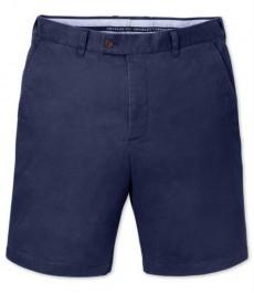 Голубые приталенные хлопковые шорты-слаксы