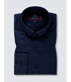 Мужская приталенная рубашка Оксфорд, Тёмно-синяя, льняная ткань - Манжеты на пуговицах