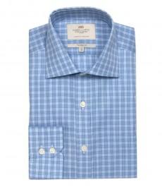 Полуприталенная мужская рубашка Warwick, ломанная голубая и светло-голубая клетка, одиночная манжета