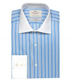 Полуприталенная мужская рубашка Warwick, голубая с тёмно-синим полоска, с белым воротником и одиночной манжетой