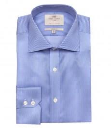 Приталенная мужская рубашка Warwick, сиреневая с белым узкая полоска, одиночная манжета