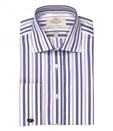 Полуприталенная мужская рубашка Warwick, белая с фиолетовым разноцветная полоска, двойная манжета