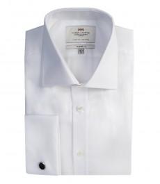Мужская белая рубашка, твил, полуприталенная
