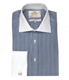 Полуприталенная мужская рубашка Warwick, тёмно-голубая с белым полоска, с белым воротником и двойной белой манжетой