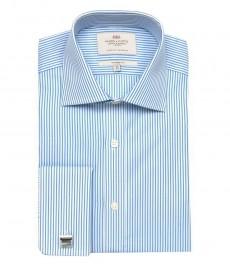 Приталенная мужская рубашка Warwick, белая с синей тонкая полоска, двойная манжета