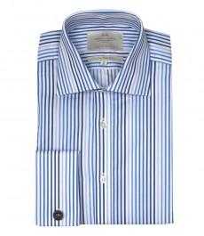 Приталенная мужская рубашка Warwick, белая с яркой-синей разноцветной полоской, двойная манжета