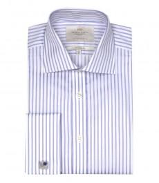 Полуприталенная мужская рубашка Warwick, белая с сиреневым полоска, двойная манжета