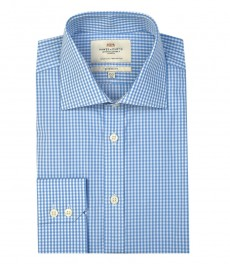 Мужская классическая рубашка, белая в голубую клетку - Манжеты на пуговицах - Легко гладится
