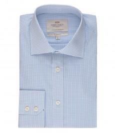 Мужская рубашка, белая в голубую клетку, классическая - манжеты на пуговицах