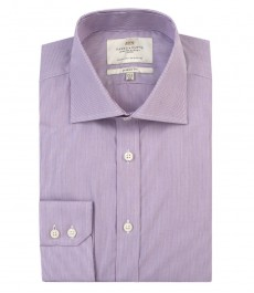 Мужская классическая рубашка, фиолетовая в белую полоску - манжеты на пуговицах - легко гладится