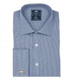 Мужская классическая рубашка Warwick, тёмно-синяя с белой ломанной клеткой, двойная манжета