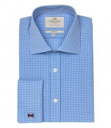 Мужская классическая рубашка Warwick, сине-белая мелкая клетка, двойная манжета