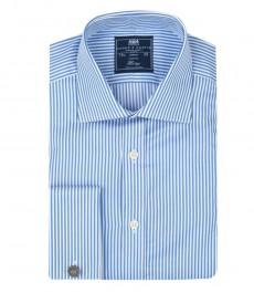 Классическая мужская рубашка Warwick из высококачественного хлопка, двухцветная белая со светло-голубым полоска, двойная манжета