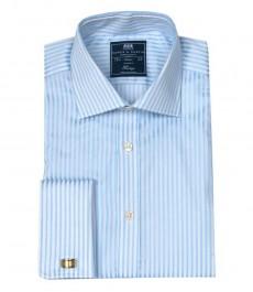 Мужская классическая рубашка Warwick, белая в светло-голубую полоску, двойная манжета