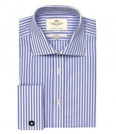Классическая мужская рубашка Warwick из высококачественного хлопка, двухцветная бело-лиловая полоская, двойная манжета