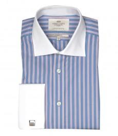 Классическая мужская рубашка Warwick из высококачественного хлопка, белые и фиолетовые полоски на голубом фоне, белый воротничок & двойная манжета