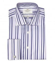 Мужская классическая рубашка Warwick из высококачественного хлопка, разноцветная бело-фиолетовая полоска, двойная манжета