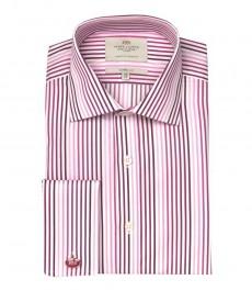 Классическая мужская рубашка Warwick из высококачественного хлопка, белая и розовая узкая полоска,  двойная манжета