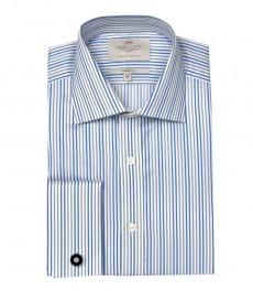 Классическая мужская рубашка Warwick из высококачественного хлопка, белая, серая, голубая узкая полоска, двойная манжета