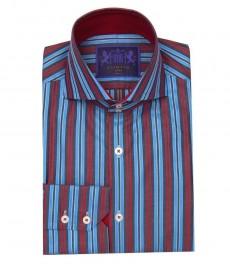 Мужская приталенная рубашка York, розово-голубая контрастная полоска,  высокий воротник