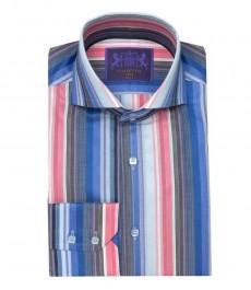 Мужская приталенная рубашка York, розово-голубая полоска, высокий воротник